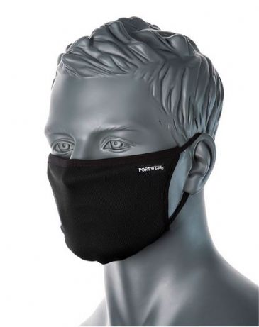 Portwest CV33 - 3-Ply Anti-Microbial Fabric Face Mask (Black)